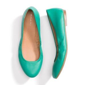 Tahari Violet Ballet Flats Teal Green Size 8